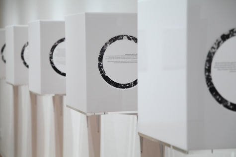 An Underdetermination (made necessary by the commonness of the debate), 2009, courtesy of the artist, Ragen Moss, acrylic, mylar, seven inkjet prints, six unique audio recordings, seven boxes