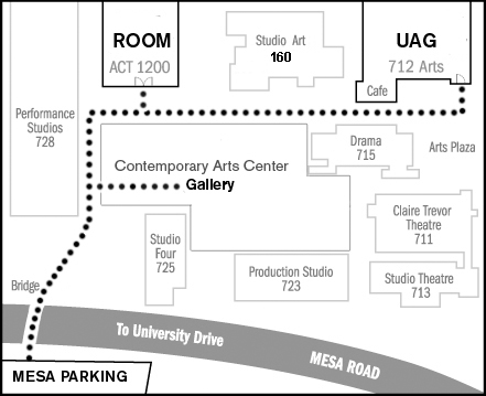 Map to University Art Gallery