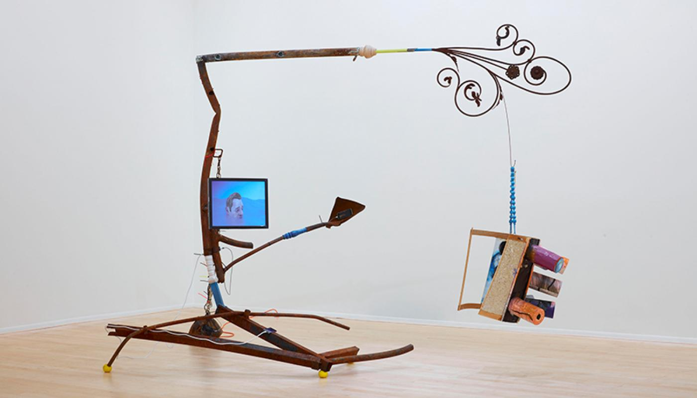 """Chris Warr, """"Tails of Tales"""" installation view, UC Irvine © 2020. Photo: Paul Salveson"""