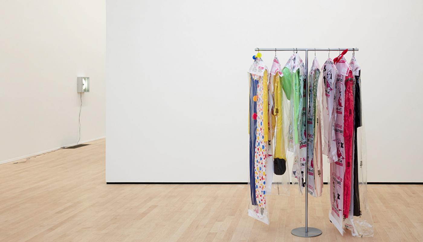 "Ellen Schafer, ""Adult Costume,"" installation view, University Art Gallery, UC Irvine © 2020. Photo: Paul Salveson."