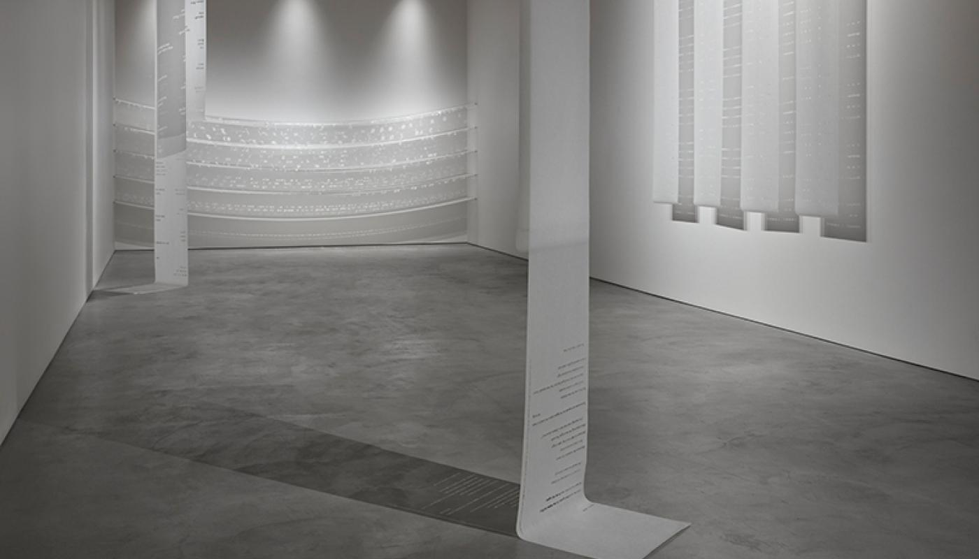 """Jean Shon, """"this place that bears my past doesn't even know my name,""""installation view, CAC Gallery, UC Irvine © 2020. Photo: Paul Salveson"""