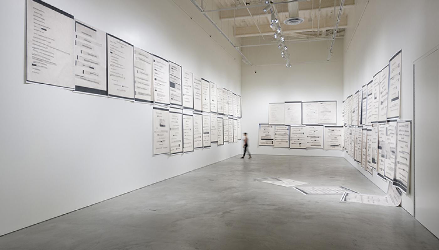 """Moskva"" Lutz Bacher Blue Wave installation view, University Art Galleries, UC Irvine © 2019 Photo: Jeff McLane"