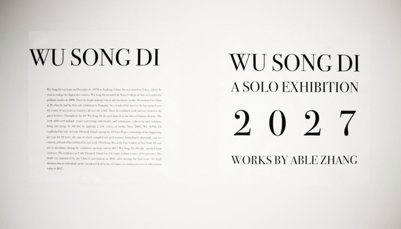 """Able Zhang """"WU SONG DI: A SOLO EXHIBITION, 2027"""" 2017. Photo courtesy of the artist."""