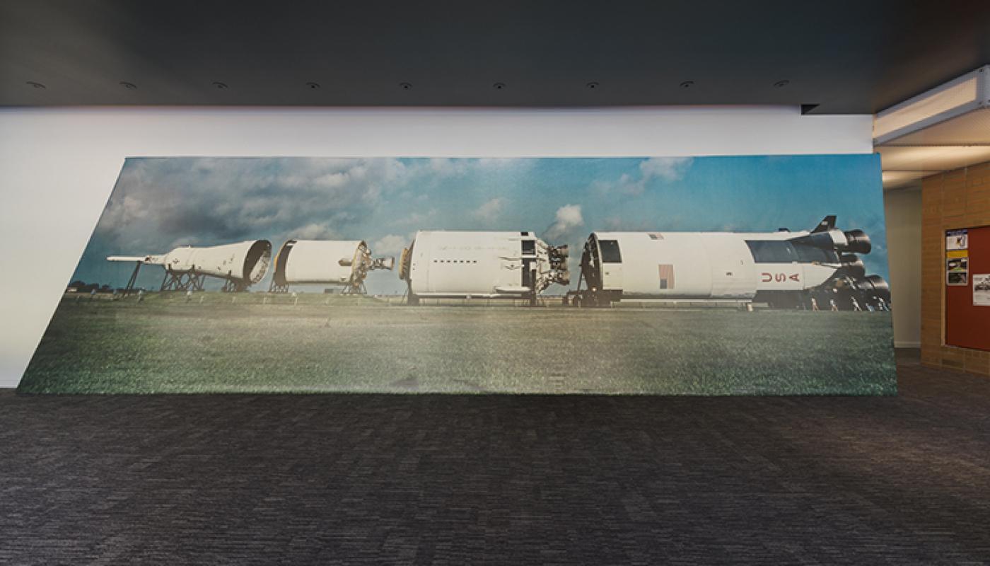"""""""Rocket"""" Lutz Bacher Blue Wave installation view, University Art Galleries, UC Irvine © 2019 Photo: Jeff McLane"""