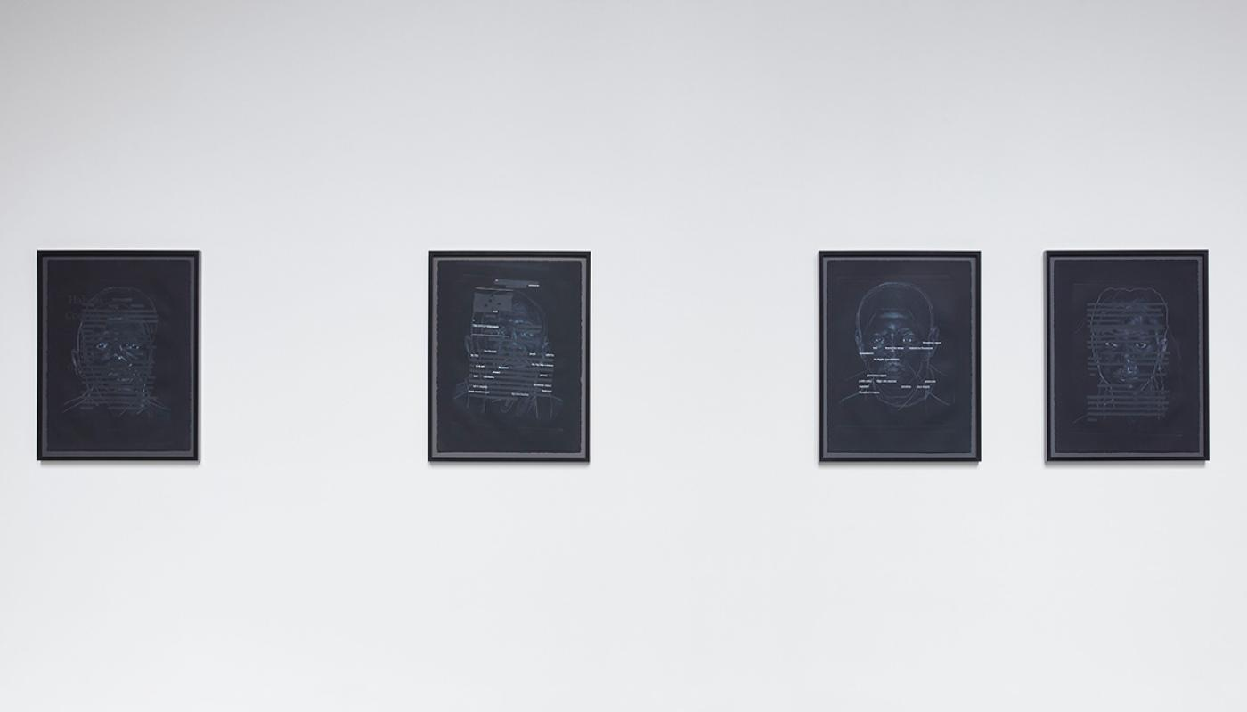 Titus Kaphar and Reginald Dwayne Betts, Redaction (Habeas Corpus); Redaction (In Missouri); Redaction (San Francisco), 2020, Etching and silkscreen on paper. © 2021 University Art Gallery, UC Irvine.