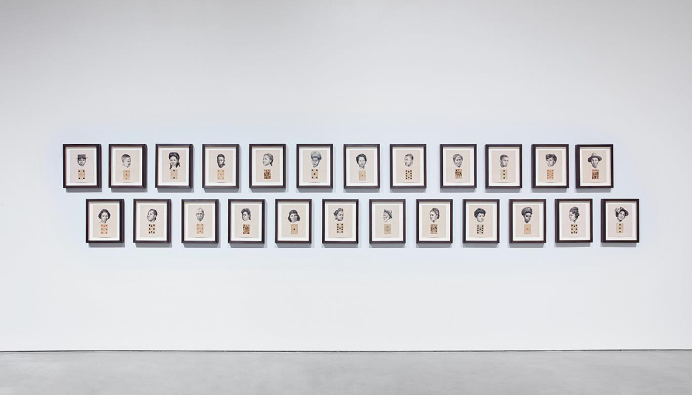 Whitfield Lovell, The Card Pieces, 2020, Charcoal pencil on paper with attached playing cards. University Art Gallery, UC Irvine © 2021. Photo by Paul Salveson.