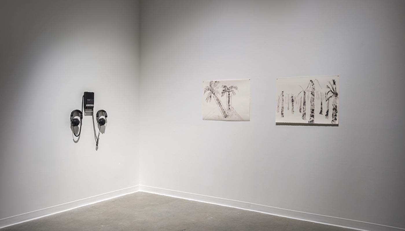 """MIXTAPE: Goodbye street Goodbye home"" Shagha Ariannia, installation view, Room Gallery, UC Irvine © 2015. Photo: Jeff McLane"