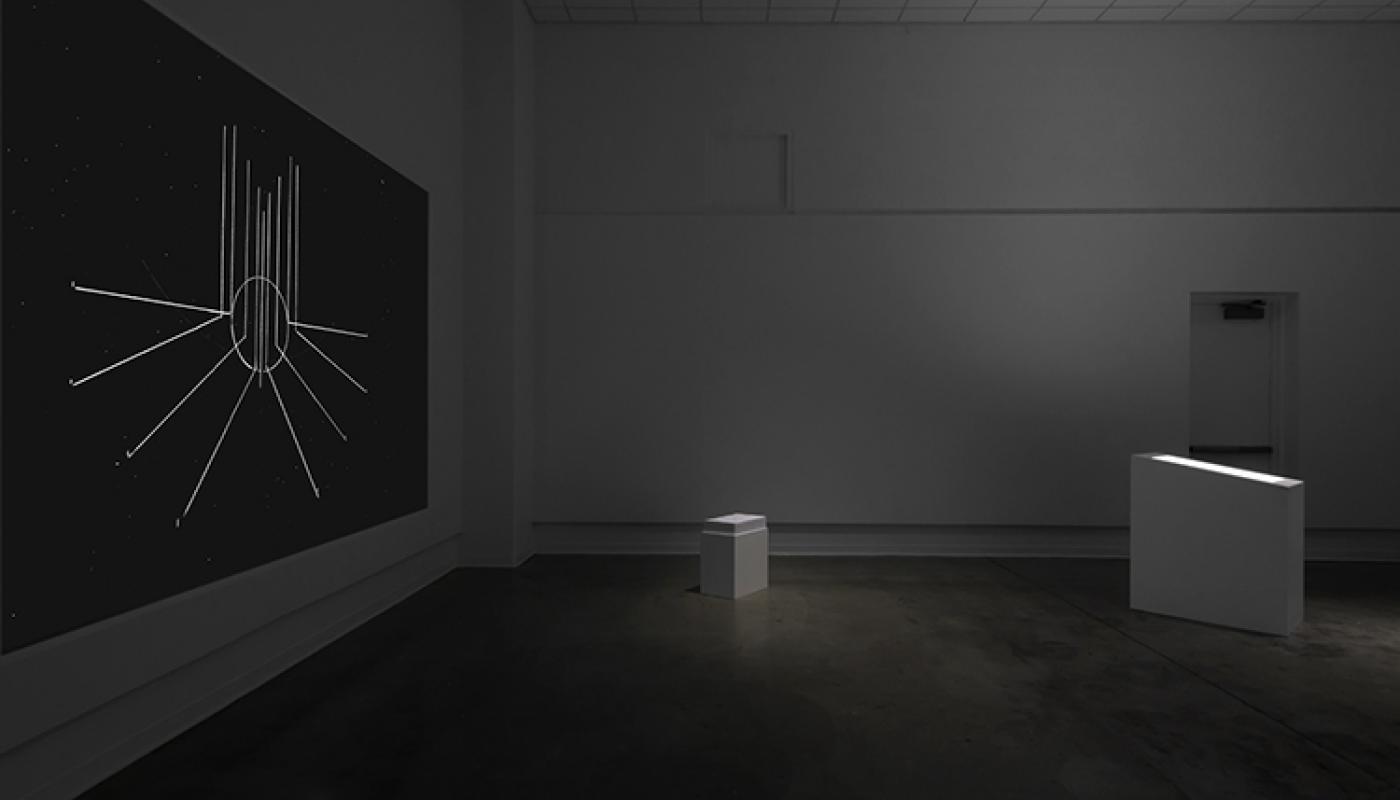 """""""Flat As The Tongue Lies"""" solo exhibition by Ella de Búrca installation view, Room Gallery."""