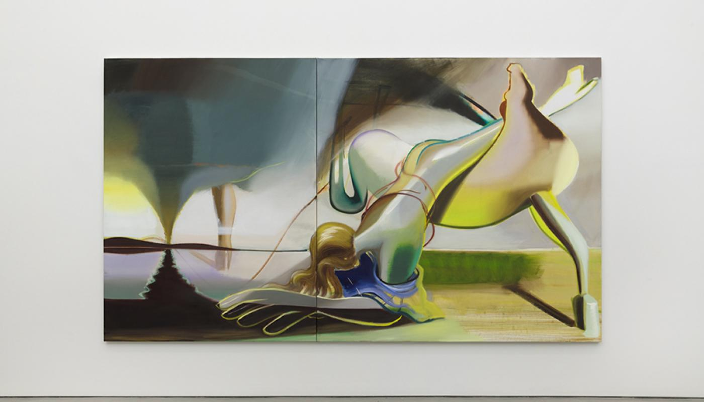 """""""Into the Open,"""" 2019, Oil on Linen, Diptych 78.75 x 137.8 inches."""