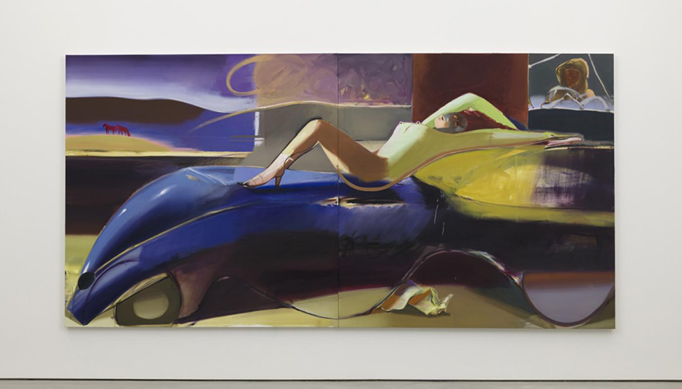 """""""Road Trip,"""" 2019, Oil on Linen, Diptych 78.75 x 157.5 inches."""