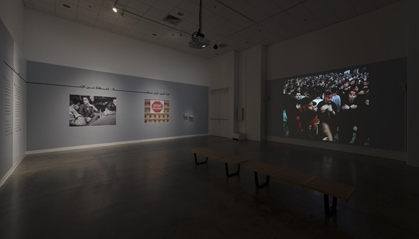 """Beirut Lab 1975(2020) installation view: Jalal Toufic, """"The Lamentation Series: The Ninth Night and Day,"""" University Art Galleries, UC Irvine © 2019 Photo: Jeff McLane"""