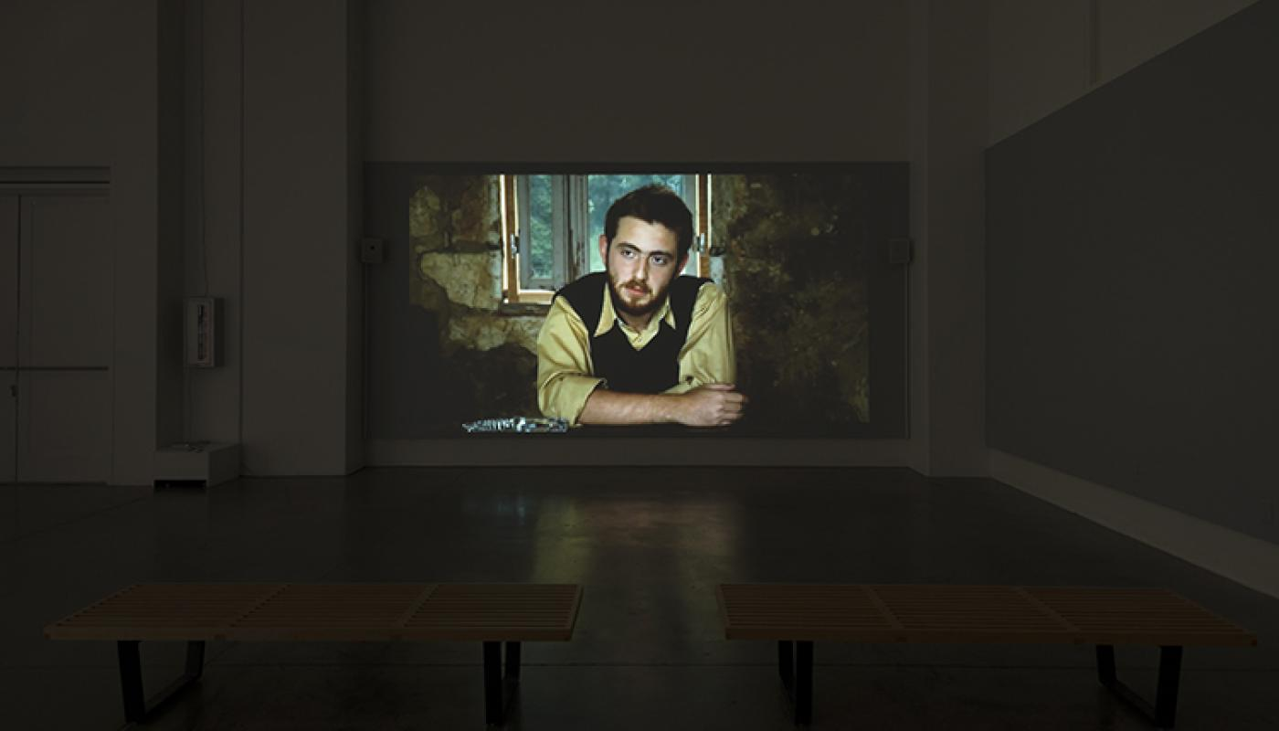 """Beirut Lab 1975(2020) installation view: Rania and Raed Rafei, """"74 (The Reconstitution of a Struggle),"""" University Art Galleries, UC Irvine © 2019 Photo: Jeff McLane"""
