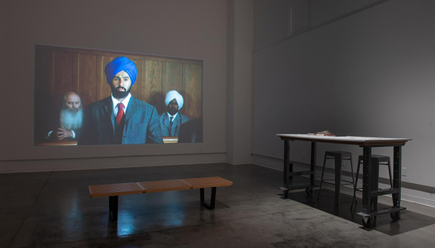 """""""In Search of Baba Singh"""" installation view Room Gallery. University Art Gallery, UC Irvine © 2019. Photo: Yubo Dong."""