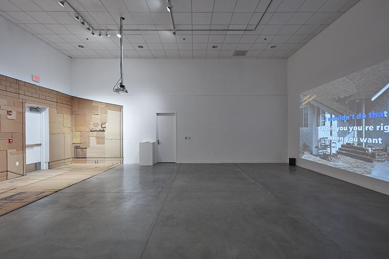 """Christine Hudson """"A Moment of Rest, a Place for Queeraoke, an Imagined Hope..."""" installation view. Room Gallery, UC Irvine © 2020. Photo: Paul Salveson"""