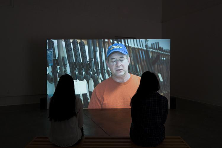 "Omar Mismar, ""Schmitt, You and Me,"" video installation, 2016-17. University Art Galleries, UC Irvine © 2017. Photo: Jeff McLane"