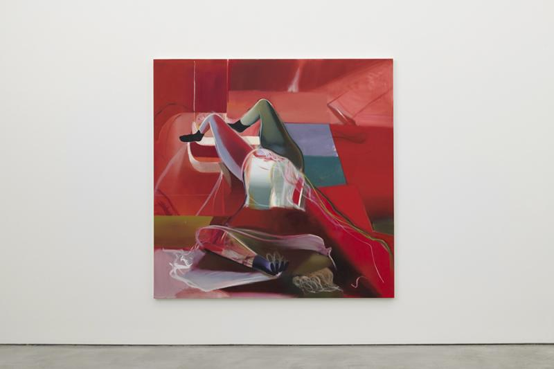 """Sub Red,"" 2019 Oil on Linen 78.75 x 78.75 inches. University Art Galleries, UC Irvine © 2020 Photo: Jeff McLane Studio, Inc."