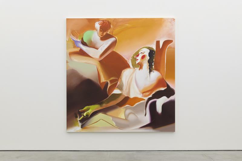 """Me, Him or the Angel,"" 2019, Oil on Linen, 82.7 x 78.75 inches. University Art Galleries, UC Irvine © 2020 Photo: Jeff McLane Studio, Inc."