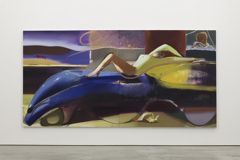 """Road Trip,"" 2019, Oil on Linen, Diptych 78.75 x 157.5 inches. University Art Galleries, UC Irvine © 2020 Photo: Jeff McLane Studio, Inc."