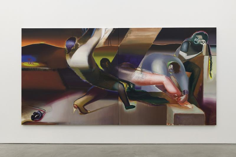 """Dirty Elements,"" 2019, Oil on Linen, Diptych 78.75 x 157.5 inches. University Art Galleries, UC Irvine © 2020 Photo: Jeff McLane Studio, Inc."