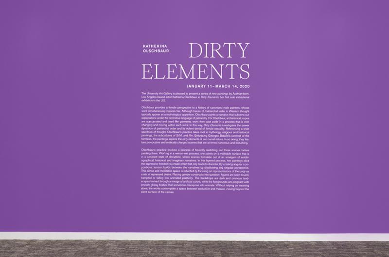 """Katherina Olschbaur: Dirty Elements"" installation view. University Art Galleries, UC Irvine © 2020 Photo: Jeff McLane Studio, Inc."