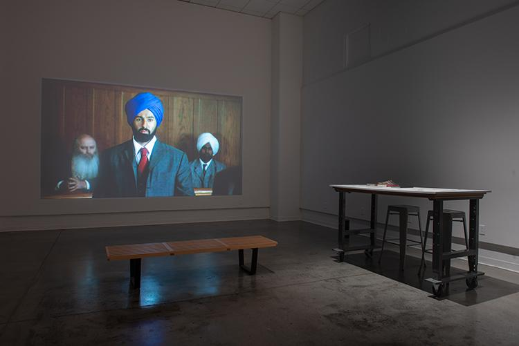 """In Search of Baba Singh"" installation view Room Gallery. University Art Gallery, UC Irvine © 2019. Photo: Yubo Dong."